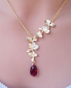 Orquídeas de oro y collar de oro cristal de rubí Swarovski en forma de lágrima.  Elija su color.