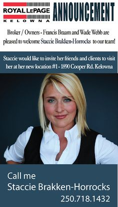 Royal LePage Kelowna: Welcome to the team Staccie