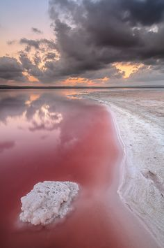Salt Sea. The pink colour comes from the overabundance of sodium.