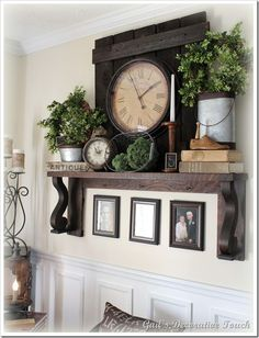Primitive and rustic decor! by Jeri I like this . For above the cupboards : Primitive and rustic decor! by Jeri I like this . Living Room Clocks, Dining Room Decor, Room Decor, Living Room Decor, Trendy Living Rooms, Livingroom Layout, Farm House Living Room, Farmhouse Wall Decor Living Room, Living Room Photos