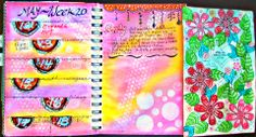 Week 20 Planner pages and challenge - using better Gesso makes colors pop!