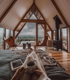 A Frame House Plans, A Frame Cabin, Tiny House Cabin, Tiny House Design, Cabins In The Woods, House In The Woods, Cozy Cabin, My Dream Home, Future House