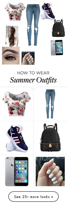 """School outfit #12"" by samialbarran-1 on Polyvore featuring adidas, Michael Kors, women's clothing, women, female, woman, misses and juniors"