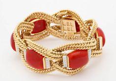 David Webb gold, coral, and diamond cuff bracelet