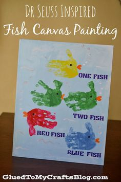 Glued to my Crafts: Dr Seuss Inspired Fish Canvas Painting {Kid Craft}