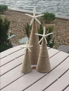 Coastal Christmas, DIY, twine or wrap cone in burlap! Coastal Christmas Decor, Nautical Christmas, Coastal Decor, Coastal Curtains, Coastal Entryway, Coastal Rugs, Coastal Bedding, Coastal Lighting, Purple Christmas