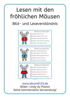 Lesen mit den Mäusen, lesen, Lesematerial, Download, Leseverständnis, Lesekompetenz, Deutsch, Vorschule, Klasse 1