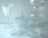 Wedding Candy Bar, Wedding Buffet, Pressed Glass Collection, Candy Dishes, Vase, Set of 6