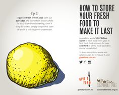Tips for reducing food waste - using lemon juice to stop browning How To Cut Avocado, Fresh Avocado, Fresh Lemon Juice, Food Waste, Fruits And Vegetables, Food Storage, Food To Make, Infographic, Reduce Waste