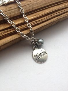 Miracles silver charm necklace faith charm by RedLanternDesigns