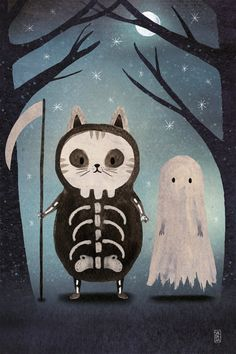 The Spooky Cat print  Print 20x30  Halloween illustration    Etsy