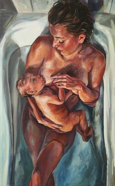 Painting by Amanda Greavette. #birth #newborn #breastfeeding These are the days for miracle and wonder. (P. Simon) Painting by Amanda Greavette.