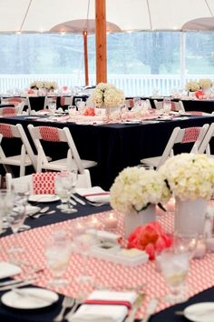white hydrangea centerpieces, red gingham runners, navy tablecloths - - - excellent