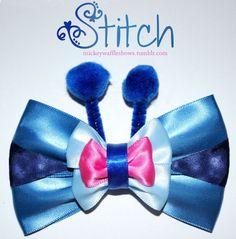 Disney Stitch Hair Bow by MickeyWaffles on Etsy Diy Bow, Diy Ribbon, Ribbon Crafts, Fabric Ribbon, Ribbon Bows, Ribbons, Disney Hair Bows, Disney Dress Up, Disney Diy
