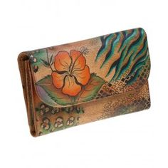 Primeste frumusetea florilor de hibiscus in sufletul tau si in portofelul mare trifold din piele, Anuschka
