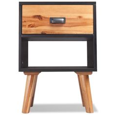 Retro Solid Wood Nightstand Cabinet 1 Drawer Bedside Table Mid Century Furniture for sale online Wood Nightstand, Bedside Cabinet, Bedroom Furniture Sets, Home Furniture, Wooden Furniture, Home And Garden Store, Mdf Frame, Wood Cabinets, Acacia Wood