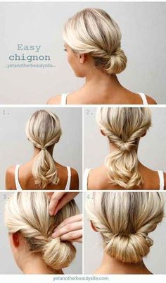 27 Tips & Tricks for the perfect ponytail: Do a topsy tail (inverted ponytail) and tuck the ends in to make an easy chignon.