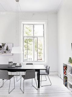 black, gray and white dining room