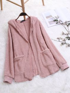 Gracila Casual Solid Color Pockets Fleece Open Hooded Coat is hot sale on Newchic,here women Coats & Jackets with unbelievable discounts. Grim Reaper Halloween, Cool Outfits, Fashion Outfits, Pink Grey, Coats For Women, Mantel, Fur Coat, Autumn Fashion, Sweatshirts