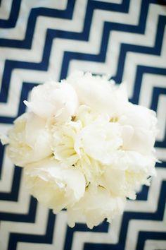 fluffy white bouquet with chevron | Danielle Davis