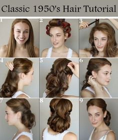 Vintage Hairstyles Updo Hairstyles For Long Hair Tutorial 1940s Hairstyles For Long Hair, 1950s Hairstyles, Classic Hairstyles, My Hairstyle, Celebrity Hairstyles, Easy 50s Hairstyles, Rocker Hairstyles, Classic Updo, Fashion Hairstyles