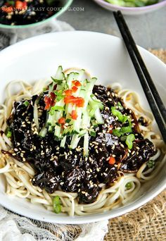 Korean Black Bean Noodles -Jjajangmyeon