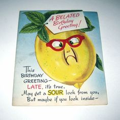 Vintage 1950s Novelty Birthday Greeting Card with Anthropomorphic Fruit   Sour Lemon