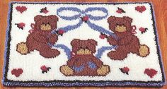 Bears and Hearts x latch hook rug kit. Kit comes complete with stamped mesh latch hook canvas, yarn is 2 x 3 ply pre-cut acrylic rug yarn (equivalent to 6 ply) and complete instructions. Weaving Machine, Latch Hook Rug Kits, Rug Yarn, Punch Needle, Small Rugs, Rug Hooking, Hobbies And Crafts, Needlepoint, Needlework