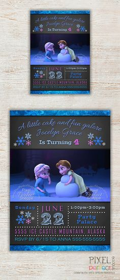 Frozen Birthday Invitation, Frozen Birthday Party, Frozen Invitation, Frozen Birthday Invitation, Disney Invitation, Anna & Elsa as Kids