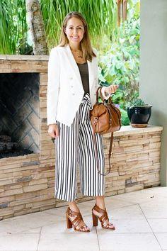 Today's Everyday Fashion: White Blazer, Striped Pants