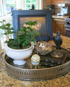 Garden, Home and Party. Nice vignette with smalls arranged on a tray.