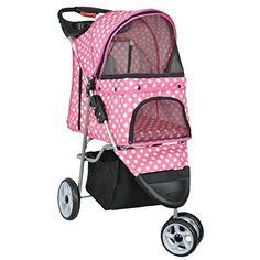 Pet Stroller Cat Dog Foldable Carrier Strolling Cart Pink & White Polka Dot #VIVO