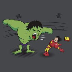 "http://www.redbubble.com/people/zacly   ""Hulk & Iron Man Avengers"". A good friend of mine does these awesome renditions of famous characters...check him out!"