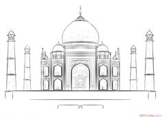How to draw the Taj Mahal step by step. Drawing tutorials for kids and beginners.