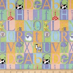 Comfy Flannel Abc Blocks Multi from @fabricdotcom  This double napped (brushed on both sides) flannel is perfect for quilting and apparel. Colors include shades of gold, purple, blue, white, red, pink and yellow.