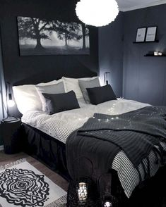Bedroom lighting can range from basic to bold, and dimmed to dramatic. No matter what, lighting is a key player in your bedroom design. Bedroom lighting inspiration for your sleeping accommodation. Look at our best bedroom interior ideas. Black And Grey Bedroom, Black Bedroom Decor, Bedroom Setup, Room Ideas Bedroom, Blue Bedroom, Home Decor Bedroom, Modern Bedroom, Black Bedrooms, Girl Bedrooms