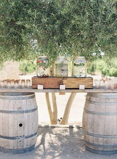 Outdoor wedding cocktail bar idea - wine barrel bar {The Tent Merchant} Hochzeit im Freien Coc Wine Barrel Wedding, Wedding Lounge, Tent Wedding, Wedding Dresses, Bush Wedding, Barrel Table, Cocktail Tables, Outdoor Cocktail Party, Santa Barbara