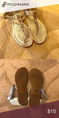 Metallic Silver Snakeskin Sandals Barely worn Silver metallic snakeskin sandals with rhinestone detail Shoes Sandals