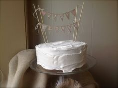 Custom baby shower  Cake Topper Banner in tea dyed by atCompanyB, $30.00