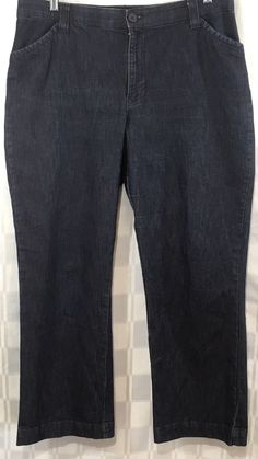 Womens Lee Jeans Comfort Waist Stretch 16 Short Trouser Straight Leg Dark Wash #Lee #StraightLeg
