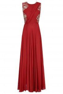 Crimson Red Floral Embroidered Drape Gown #samatvam #festiveseason #ethnic #shopnow #ppus #happyshopping