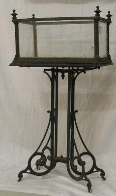 Victorian cast iron terrarium on metal base  -  Liveauctioneers
