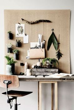 A functional pegboard in your home office keeps you organized. It can also keep you inspired. Hang small succulents or air plants on your office pegboard to enjoy throughout the day. Workspace Inspiration, Interior Inspiration, Inspiration Boards, Moodboard Inspiration, Design Inspiration, Office Workspace, Office Decor, Office Ideas, Apartment Office
