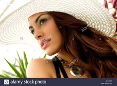 Portrait Of Young Woman, Wearing Sun Hat Stock Photo, Royalty Free ...