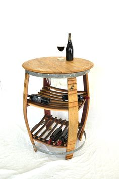 """New to winecountrycraftsman on Etsy: NAPA - """"Ravenea"""" - Wine Barrel Bistro / Tasting Table - recycled USD) Wine Barrel Crafts, Wine Barrel Table, Wine Barrel Furniture, Wine Barrels, Cool Woodworking Projects, Cool Diy Projects, Kids Woodworking, Barris, Barrel Projects"""