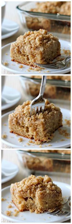 Coffee Cake with Crumble Topping and Brown Sugar Glaze - A coffee cake with a mile-high crumb topping that everyone will love, not to mention the decadent brown sugar glaze!