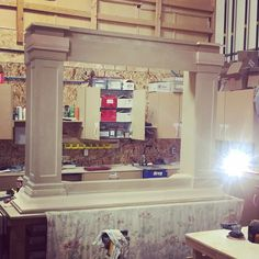 It doesn't look that big, until you have someone stand next to it. and this is just the bottom part! Wait until this is finished! It will be master bedroom statement! No doubt! Fireplace Mantels, Master Bedroom, Vanity, It Is Finished, Mirror, Big, Furniture, Home Decor, Master Suite