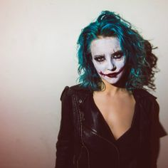 Mixture of MANIC PANIC Rockabilly Blue, Atomic Turquoise, and Electric Lizard. By Linh at Be Scene Hair Studio. #thejoker #halloween #coolhair #hairspo
