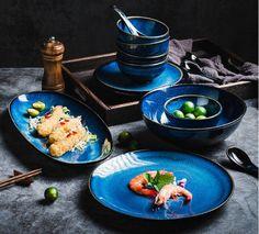 Set 2/4 Person Dinnerware Set Dark Blue Japanese Ceramic | Etsy Porcelain Dinnerware, Ceramic Tableware, Japanese Ceramics, Serving Plates, Dinner Plates, Kitchen Dining, Dishes, Dark Blue, Etsy