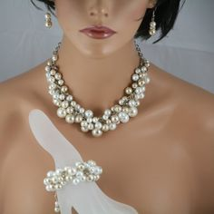 Chunky pearl necklace/bracelet/earrings champagne white and ivory pearl and crystal  - wedding jewelry,  Bridesmaids jewelry Brides jewelry on Etsy, $45.00